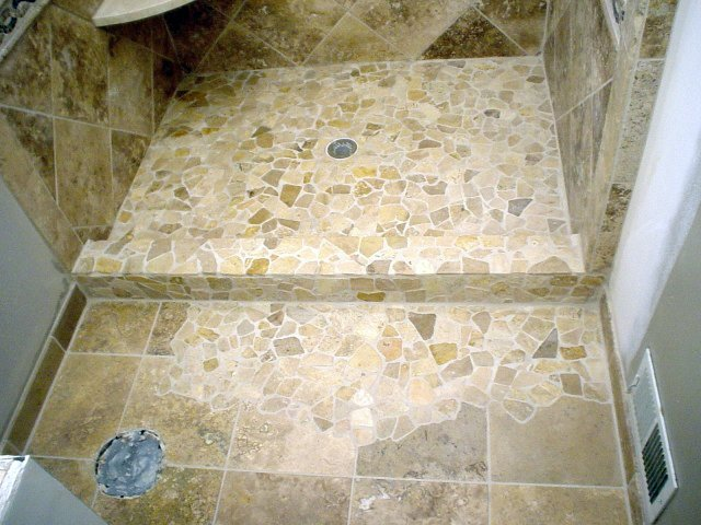 Cobel stone marble + 12x12 shower floor and walls